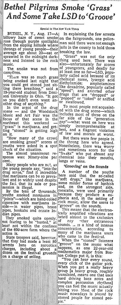 Bethel Pilgrims 1969 NYC Article